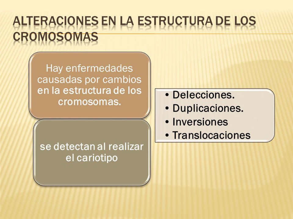 Hay enfermedades causadas por cambios en la estructura de los cromosomas. Delecciones. Duplicaciones. Inversiones Translocaciones se detectan al reali