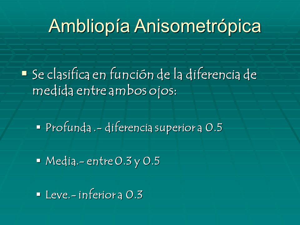 Ambliopía meridional Incidencia: En niños de 1 a 4 años de edad con astigmatismo de una dioptria o más, un 7 %.