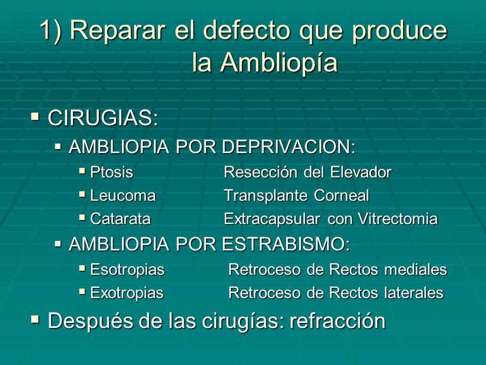 1) Reparar el defecto que produce la Ambliopía LENTES: LENTES: AMBLIOPIA ANISOAMETROPICA: AMBLIOPIA ANISOAMETROPICA: VARIACIÓN ENTRE AMBOS OJOS MENOR A 2.5D = ANTEOJOS VARIACIÓN ENTRE AMBOS OJOS MENOR A 2.5D = ANTEOJOS VARIACIÓN ENTRE AMBOS OJOS MAYOR A 2.5D = LENTES DE CONTACTO VARIACIÓN ENTRE AMBOS OJOS MAYOR A 2.5D = LENTES DE CONTACTO AMBLIOPIA ISOAMETROPICA: AMBLIOPIA ISOAMETROPICA: LENTES LENTES AMBLIOPIA MERIDIONAL AMBLIOPIA MERIDIONAL ASTIGMATISMO MENOR A 2D = ANTEOJOS ASTIGMATISMO MENOR A 2D = ANTEOJOS ASTIGMATISMO MAYOR A 2D = LENTES DE CONTACTO ASTIGMATISMO MAYOR A 2D = LENTES DE CONTACTO