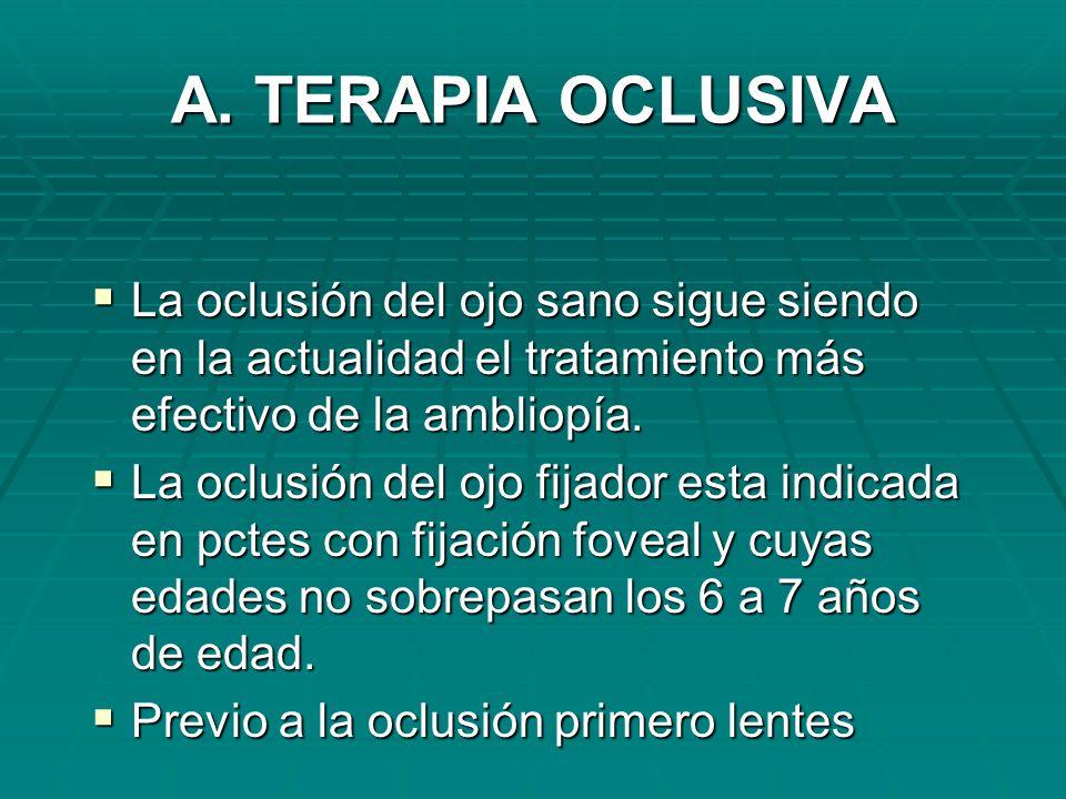 A. TERAPIA OCLUSIVA La oclusión del ojo sano sigue siendo en la actualidad el tratamiento más efectivo de la ambliopía. La oclusión del ojo sano sigue