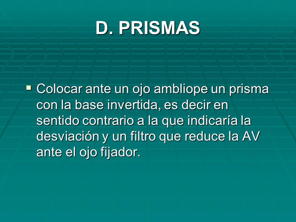D. PRISMAS Colocar ante un ojo ambliope un prisma con la base invertida, es decir en sentido contrario a la que indicaría la desviación y un filtro qu