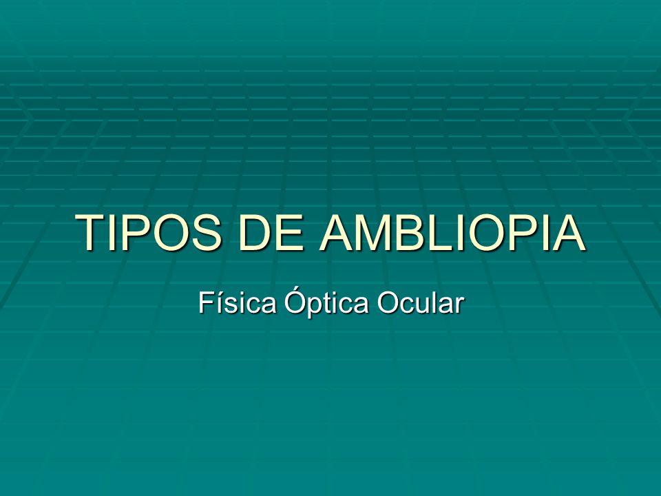 TIPOS DE AMBLIOPIA Física Óptica Ocular