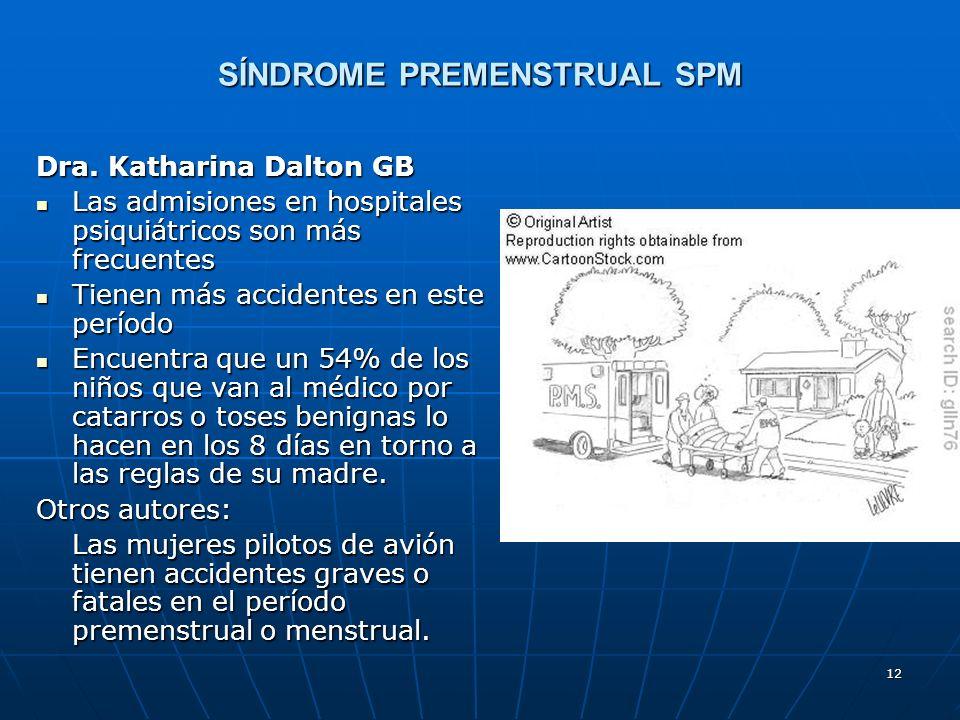 12 SÍNDROME PREMENSTRUAL SPM Dra. Katharina Dalton GB Las admisiones en hospitales psiquiátricos son más frecuentes Las admisiones en hospitales psiqu