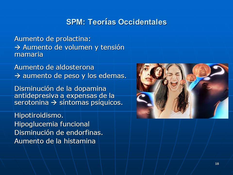 18 SPM: Teor í as Occidentales Aumento de prolactina: Aumento de volumen y tensión mamaria Aumento de volumen y tensión mamaria Aumento de aldosterona