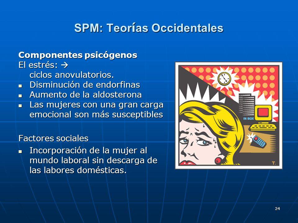 24 SPM: Teor í as Occidentales Componentes psicógenos El estrés: El estrés: ciclos anovulatorios. Disminución de endorfinas Disminución de endorfinas