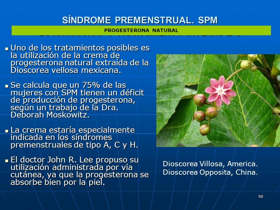 50 SÍNDROME PREMENSTRUAL. SPM DIAGNÓSTICO Y TRATAMIENTO INTEGRADO Uno de los tratamientos posibles es la utilización de la crema de progesterona natur
