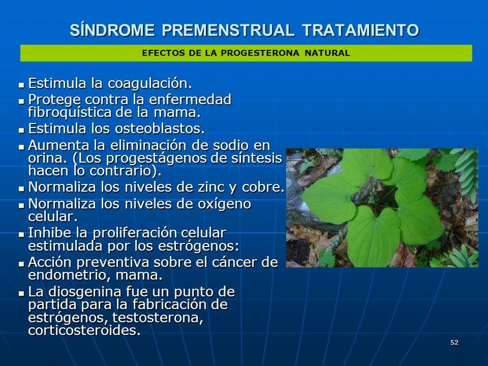 52 SÍNDROME PREMENSTRUAL TRATAMIENTO Estimula la coagulación. Estimula la coagulación. Protege contra la enfermedad fibroquística de la mama. Protege