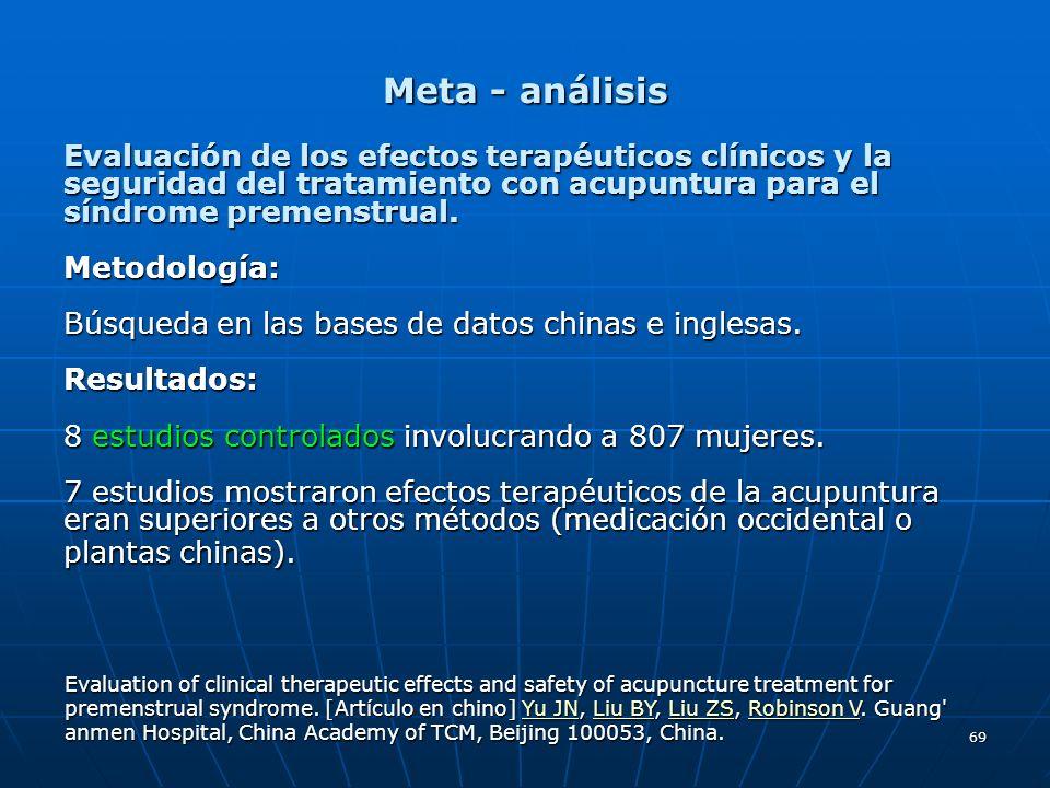 69 Meta - análisis Evaluación de los efectos terapéuticos clínicos y la seguridad del tratamiento con acupuntura para el síndrome premenstrual. Metodo