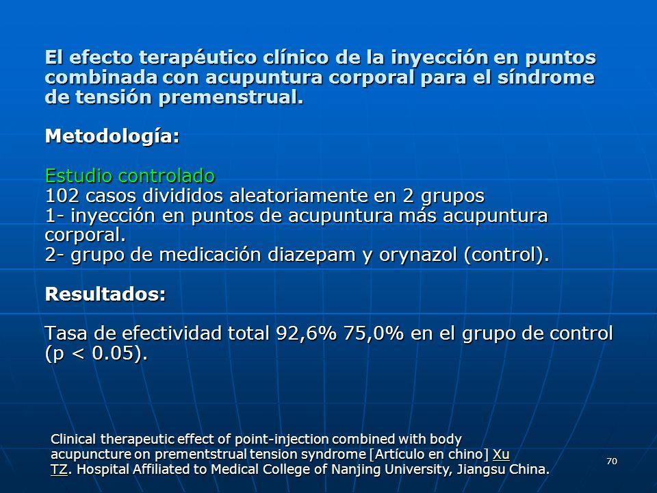 70 El efecto terapéutico clínico de la inyección en puntos combinada con acupuntura corporal para el síndrome de tensión premenstrual. Metodología: Es