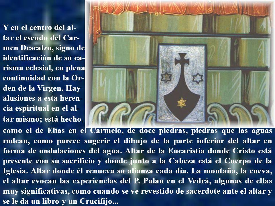 Altar con el escudo como el de Elías en el Carmelo, de doce piedras, piedras que las aguas rodean, como parece sugerir el dibujo de la parte inferior