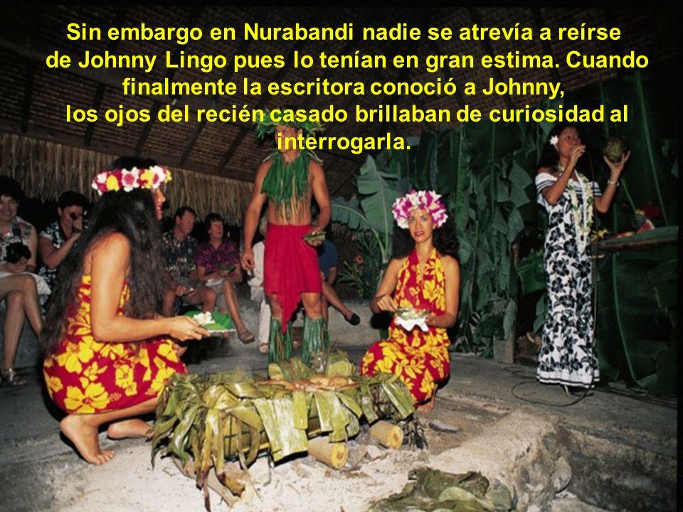 La escritora había visitado previamente la isla de Kiniwata y escuchó a los lugareños, que todavía se reían por el hecho de que el tonto Sam, hubiera estafado al sabio Johnny con ocho vacas por Mahana, una sencilla muchacha, común y corriente.