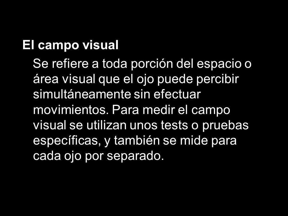 El campo visual Se refiere a toda porción del espacio o área visual que el ojo puede percibir simultáneamente sin efectuar movimientos.