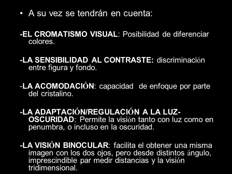 A su vez se tendrán en cuenta: -EL CROMATISMO VISUAL: Posibilidad de diferenciar colores.