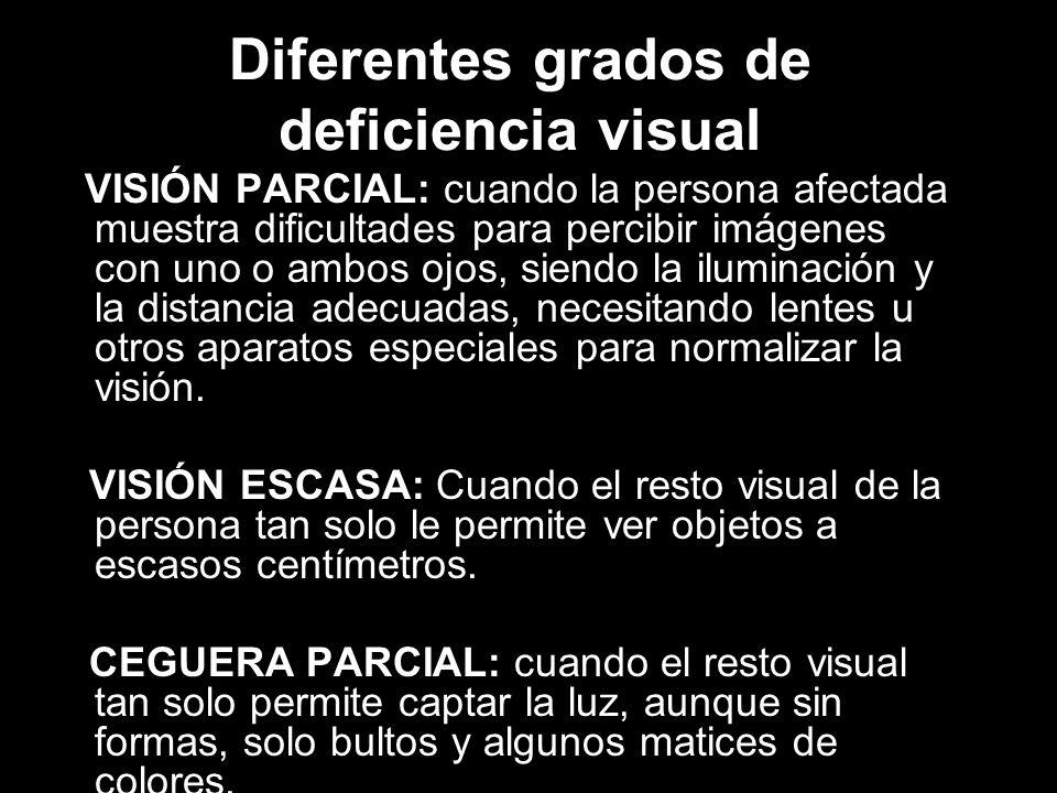 Diferentes grados de deficiencia visual VISIÓN PARCIAL: cuando la persona afectada muestra dificultades para percibir imágenes con uno o ambos ojos, siendo la iluminación y la distancia adecuadas, necesitando lentes u otros aparatos especiales para normalizar la visión.