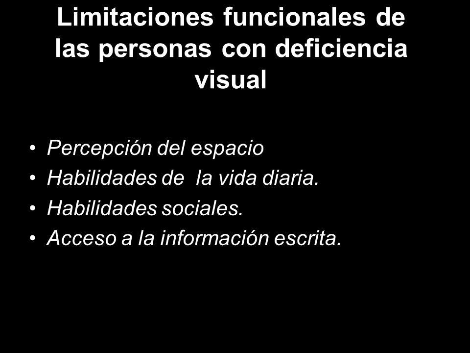 Limitaciones funcionales de las personas con deficiencia visual Percepción del espacio Habilidades de la vida diaria.