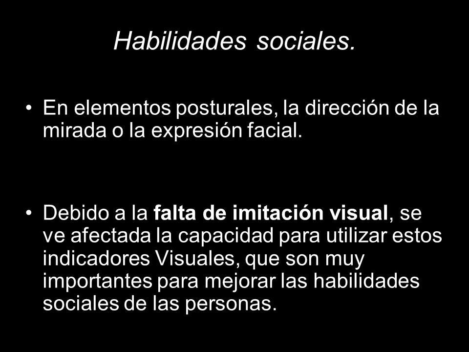 Habilidades sociales.En elementos posturales, la dirección de la mirada o la expresión facial.