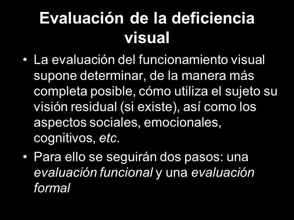 Evaluación de la deficiencia visual La evaluación del funcionamiento visual supone determinar, de la manera más completa posible, cómo utiliza el sujeto su visión residual (si existe), así como los aspectos sociales, emocionales, cognitivos, etc.