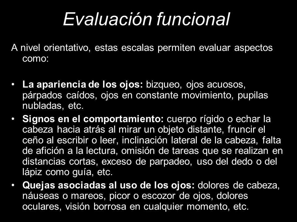 Evaluación funcional A nivel orientativo, estas escalas permiten evaluar aspectos como: La apariencia de los ojos: bizqueo, ojos acuosos, párpados caídos, ojos en constante movimiento, pupilas nubladas, etc.