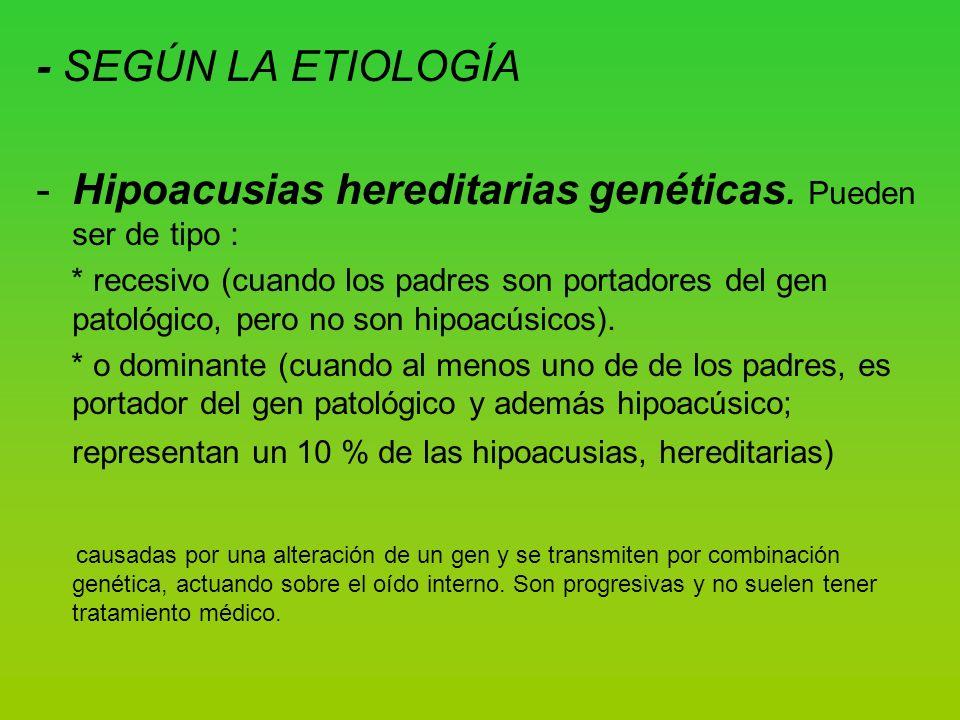 - SEGÚN LA ETIOLOGÍA -Hipoacusias hereditarias genéticas.