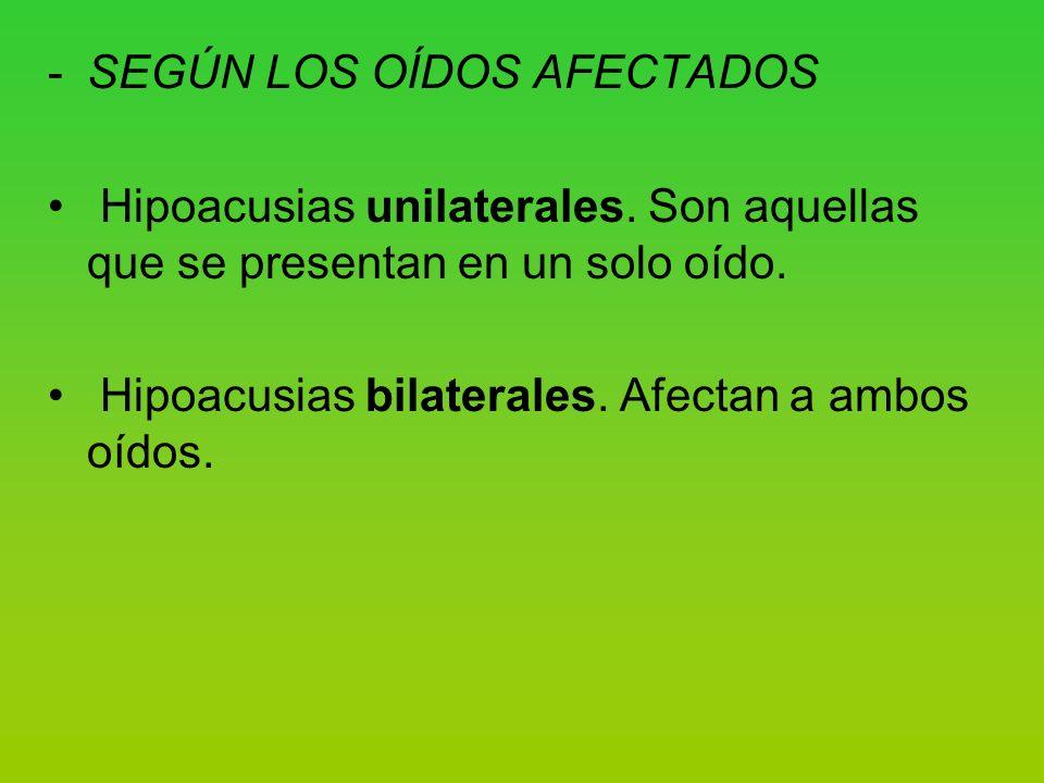 -SEGÚN LOS OÍDOS AFECTADOS Hipoacusias unilaterales.