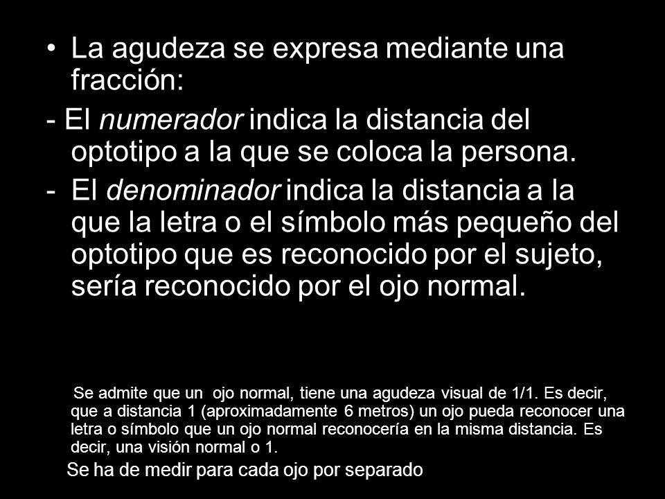 La agudeza se expresa mediante una fracción: - El numerador indica la distancia del optotipo a la que se coloca la persona.