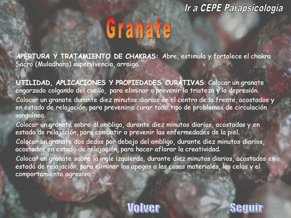 APERTURA Y TRATAMIENTO DE CHAKRAS: Abre, estimula y fortalece el chakra Sacro (Muladhara) supervivencia, arraigo. UTILIDAD, APLICACIONES Y PROPIEDADES