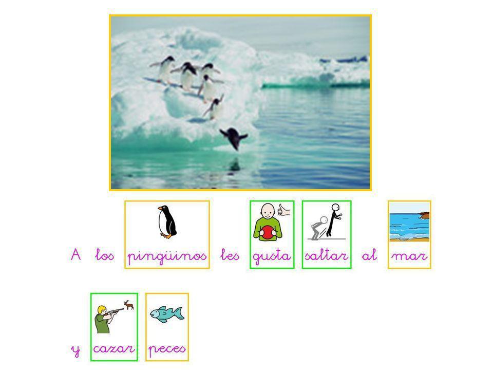 Los pingüinos viven en los sitios que hace mucho frío y hay mucha nieve