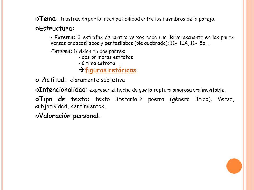 Tema: frustración por la incompatibilidad entre los miembros de la pareja. Estructura: Externa: 3 estrofas de cuatro versos cada una. Rima asonante en