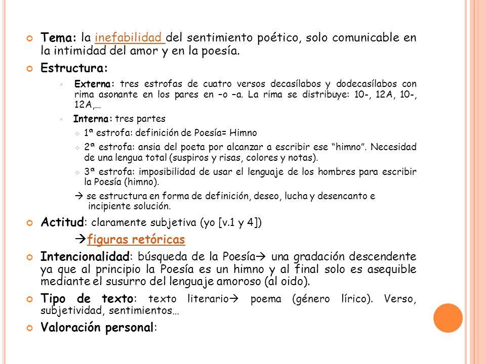 Tema: la inefabilidad del sentimiento poético, solo comunicable en la intimidad del amor y en la poesía.inefabilidad Estructura: Externa: tres estrofa