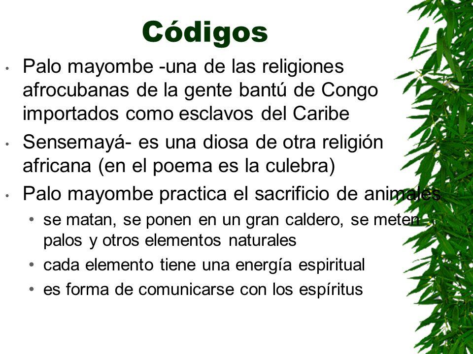 Códigos Palo mayombe -una de las religiones afrocubanas de la gente bantú de Congo importados como esclavos del Caribe Sensemayá- es una diosa de otra