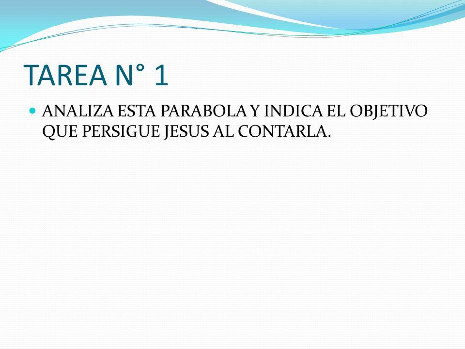 TAREA N° 1 ANALIZA ESTA PARABOLA Y INDICA EL OBJETIVO QUE PERSIGUE JESUS AL CONTARLA.