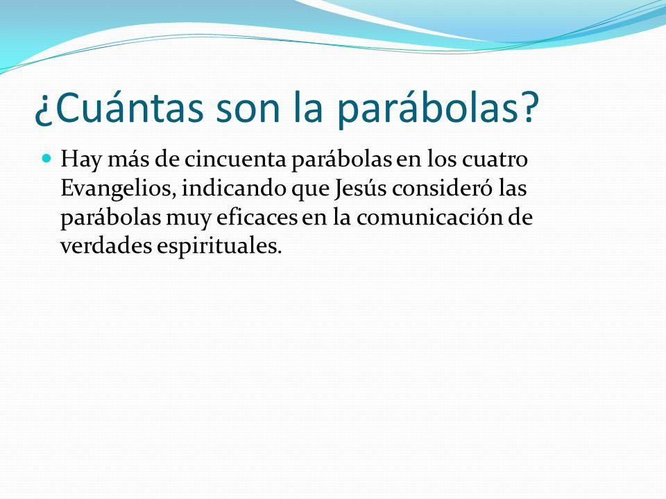 Cualidades de las parábolas Algunas cualidades de una parábola que la recomiendan como método de enseñanza son: brevedad narración de eventos comunes interés parte de lo conocido y procede a lo desconocido fácil de recordar