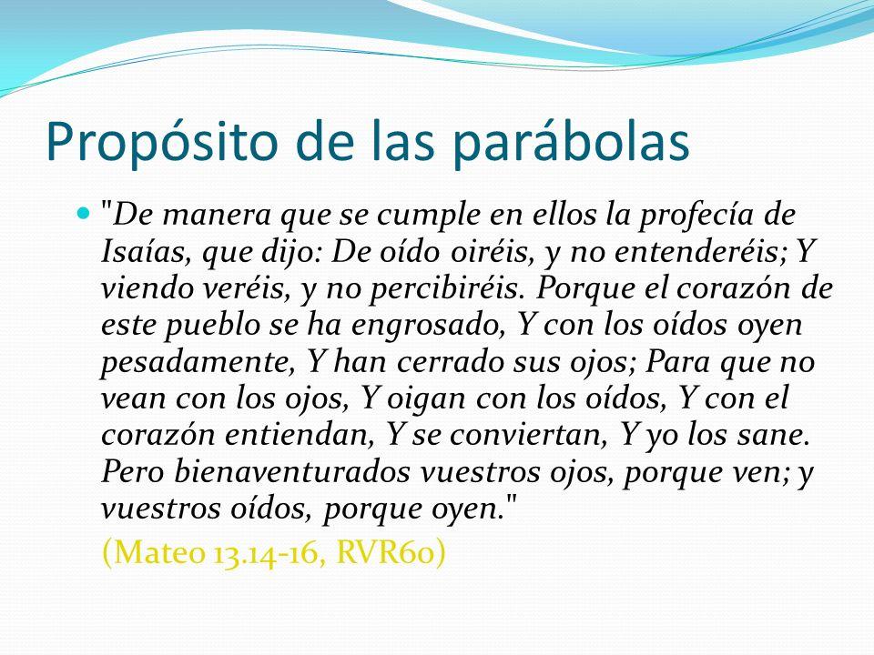 Propósito de las parábolas Los misterios del reino (v.