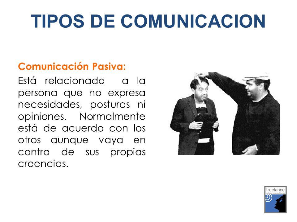 Comunicación Pasiva: Está relacionada a la persona que no expresa necesidades, posturas ni opiniones. Normalmente está de acuerdo con los otros aunque