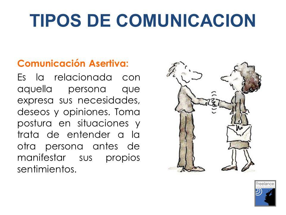 Comunicación Asertiva: Es la relacionada con aquella persona que expresa sus necesidades, deseos y opiniones. Toma postura en situaciones y trata de e