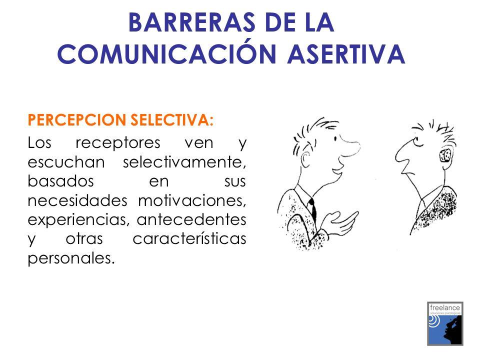 PERCEPCION SELECTIVA: Los receptores ven y escuchan selectivamente, basados en sus necesidades motivaciones, experiencias, antecedentes y otras caract