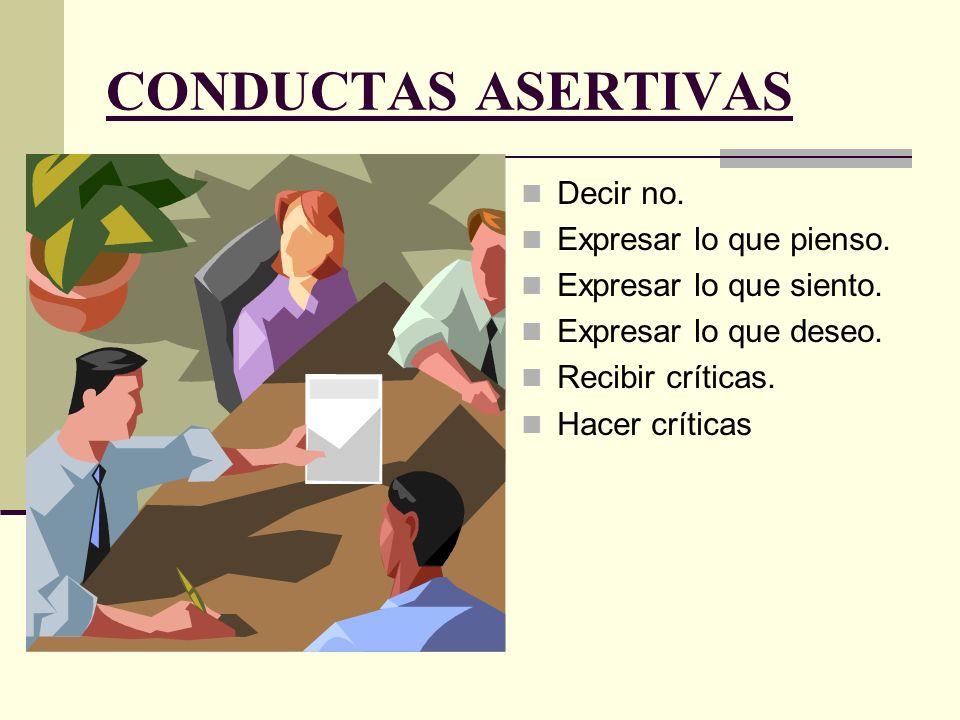 CONDUCTAS ASERTIVAS Decir no. Expresar lo que pienso. Expresar lo que siento. Expresar lo que deseo. Recibir críticas. Hacer críticas