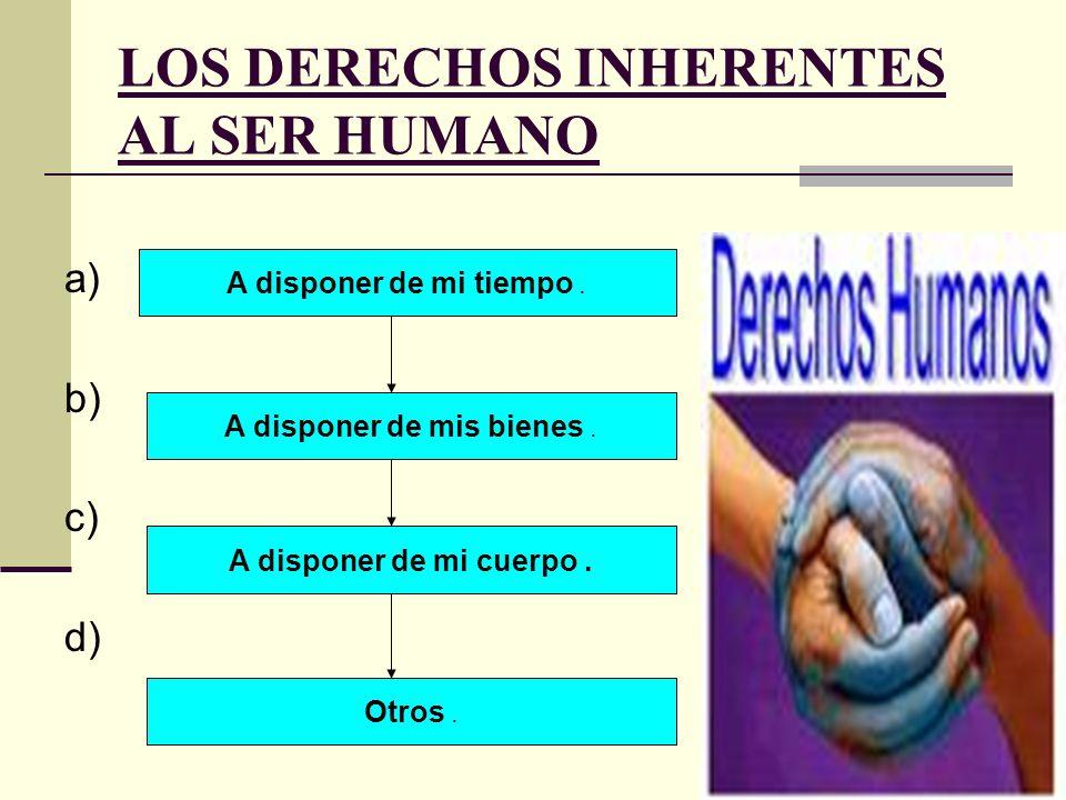 LOS DERECHOS INHERENTES AL SER HUMANO a) b) c) d) A disponer de mi tiempo. A disponer de mis bienes. A disponer de mi cuerpo. Otros.