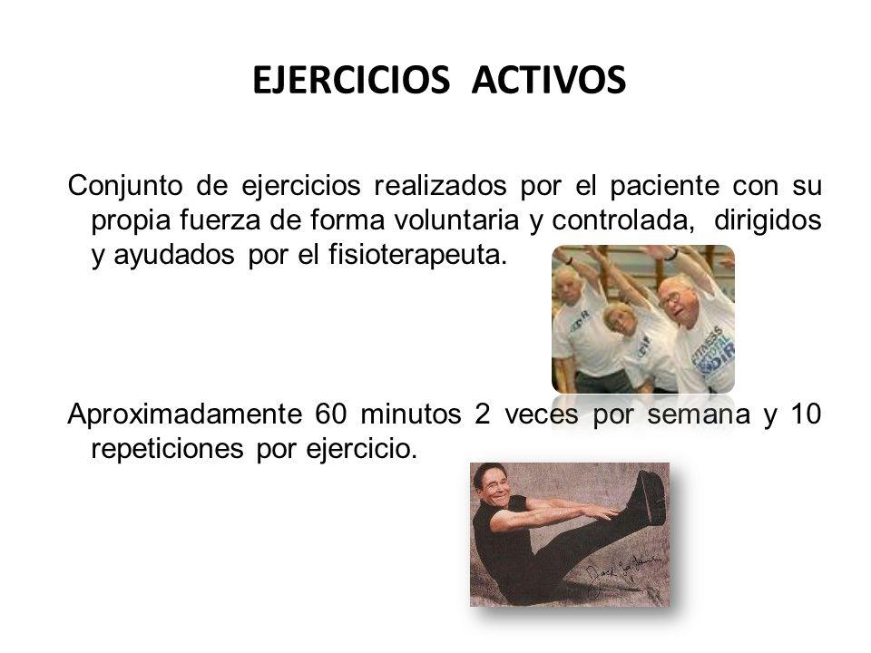 EJERCICIOS ACTIVOS Conjunto de ejercicios realizados por el paciente con su propia fuerza de forma voluntaria y controlada, dirigidos y ayudados por e