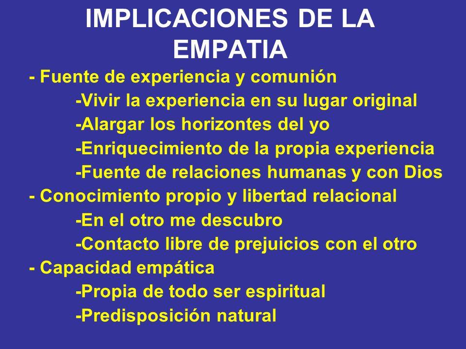 IMPLICACIONES DE LA EMPATIA - Fuente de experiencia y comunión -Vivir la experiencia en su lugar original -Alargar los horizontes del yo -Enriquecimie