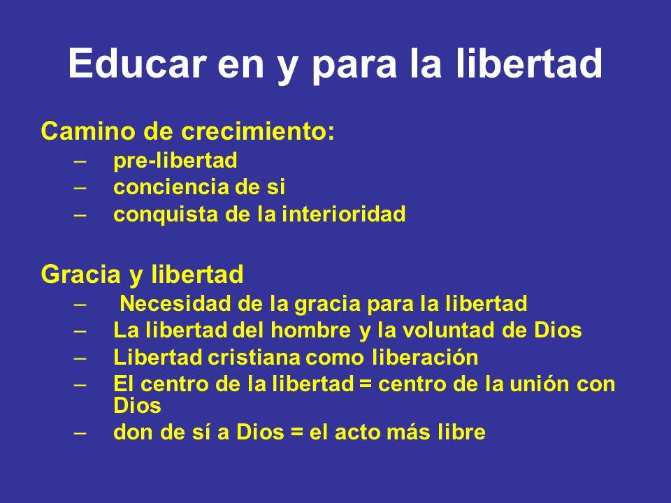 Educar en y para la libertad Camino de crecimiento: –pre-libertad –conciencia de si –conquista de la interioridad Gracia y libertad – Necesidad de la