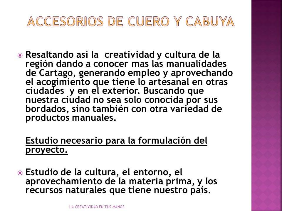 LA CREATIVIDAD EN TUS MANOS Resaltando así la creatividad y cultura de la región dando a conocer mas las manualidades de Cartago, generando empleo y aprovechando el acogimiento que tiene lo artesanal en otras ciudades y en el exterior.