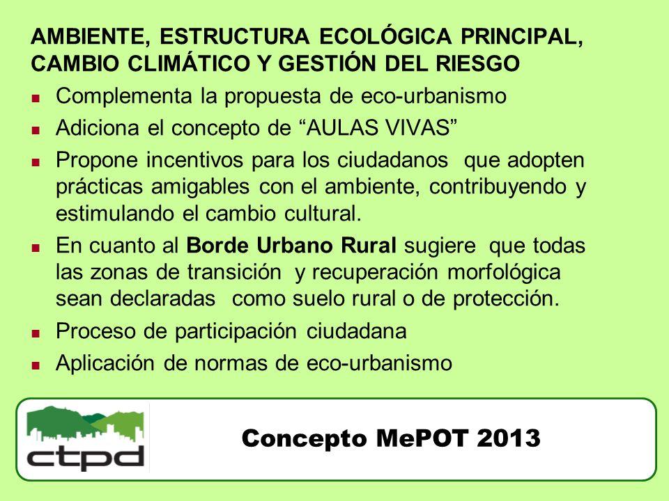 AMBIENTE, ESTRUCTURA ECOLÓGICA PRINCIPAL, CAMBIO CLIMÁTICO Y GESTIÓN DEL RIESGO Complementa la propuesta de eco-urbanismo Adiciona el concepto de AULA