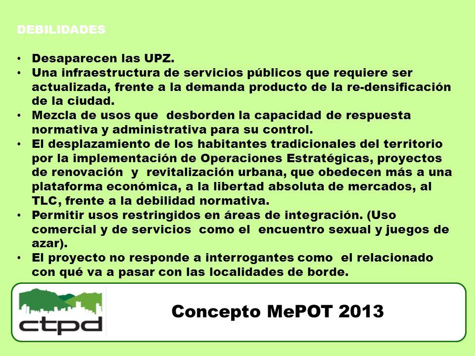 Concepto MePOT 2013 DEBILIDADES Desaparecen las UPZ. Una infraestructura de servicios públicos que requiere ser actualizada, frente a la demanda produ