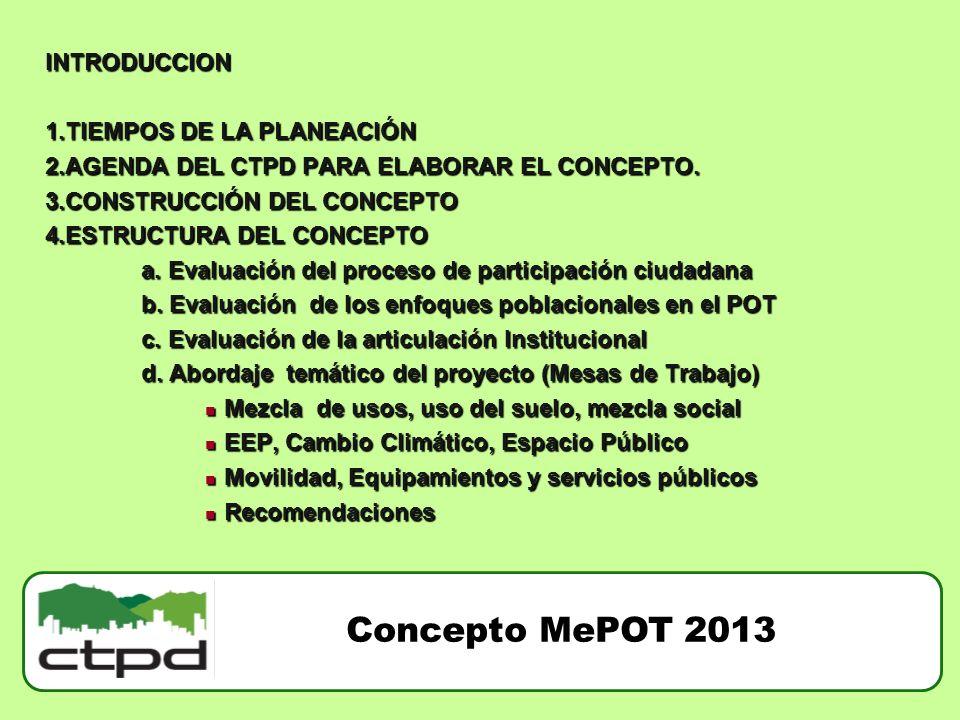 INTRODUCCION 1.TIEMPOS DE LA PLANEACIÓN 2.AGENDA DEL CTPD PARA ELABORAR EL CONCEPTO. 3.CONSTRUCCIÓN DEL CONCEPTO 4.ESTRUCTURA DEL CONCEPTO a. Evaluaci