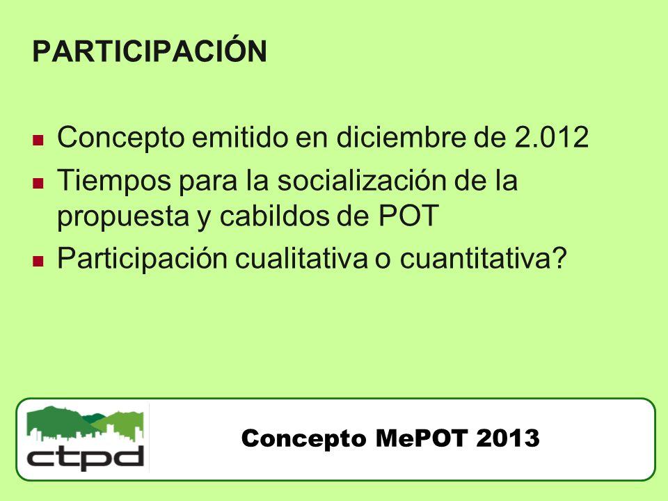 PARTICIPACIÓN Concepto emitido en diciembre de 2.012 Tiempos para la socialización de la propuesta y cabildos de POT Participación cualitativa o cuant