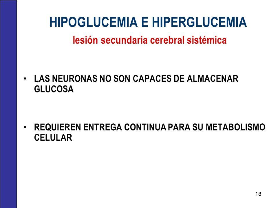 HIPOGLUCEMIA E HIPERGLUCEMIA lesión secundaria cerebral sistémica LAS NEURONAS NO SON CAPACES DE ALMACENAR GLUCOSA REQUIEREN ENTREGA CONTINUA PARA SU