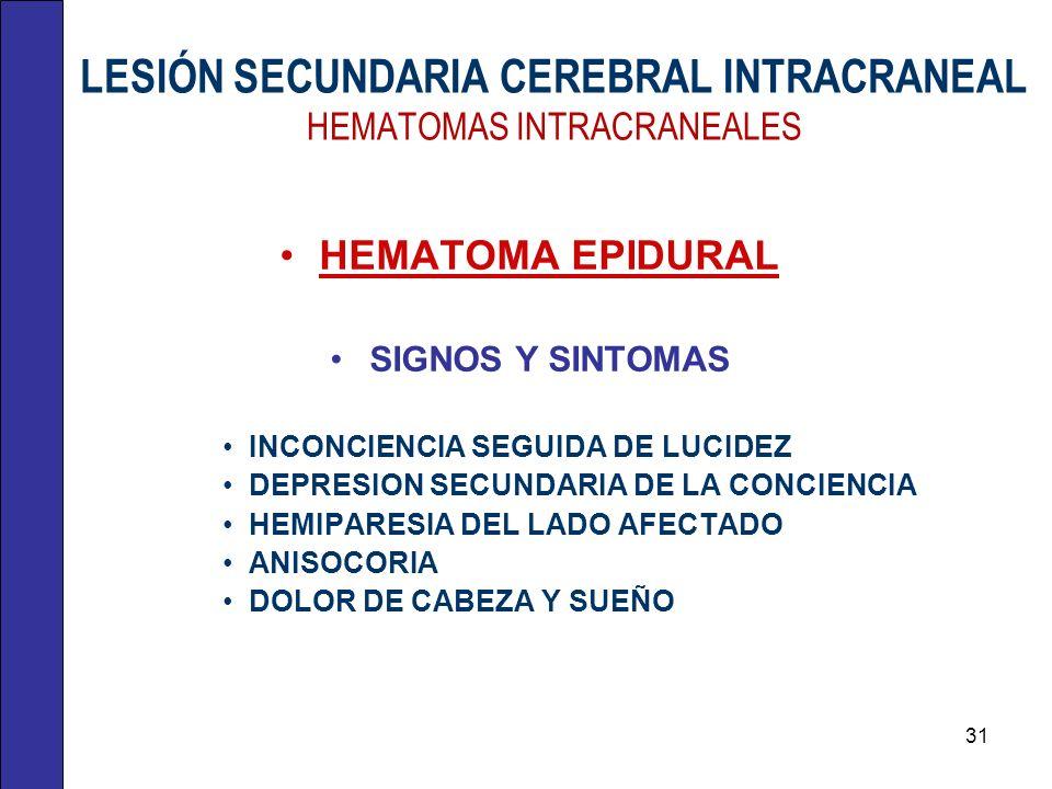 LESIÓN SECUNDARIA CEREBRAL INTRACRANEAL HEMATOMAS INTRACRANEALES HEMATOMA EPIDURAL SIGNOS Y SINTOMAS INCONCIENCIA SEGUIDA DE LUCIDEZ DEPRESION SECUNDA