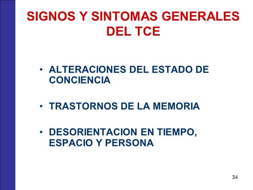 SIGNOS Y SINTOMAS GENERALES DEL TCE ALTERACIONES DEL ESTADO DE CONCIENCIA TRASTORNOS DE LA MEMORIA DESORIENTACION EN TIEMPO, ESPACIO Y PERSONA 34
