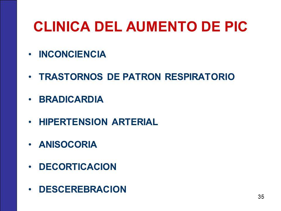 CLINICA DEL AUMENTO DE PIC INCONCIENCIA TRASTORNOS DE PATRON RESPIRATORIO BRADICARDIA HIPERTENSION ARTERIAL ANISOCORIA DECORTICACION DESCEREBRACION 35